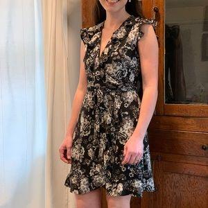 Monteau Floral Faux Wrap Dress, Size S